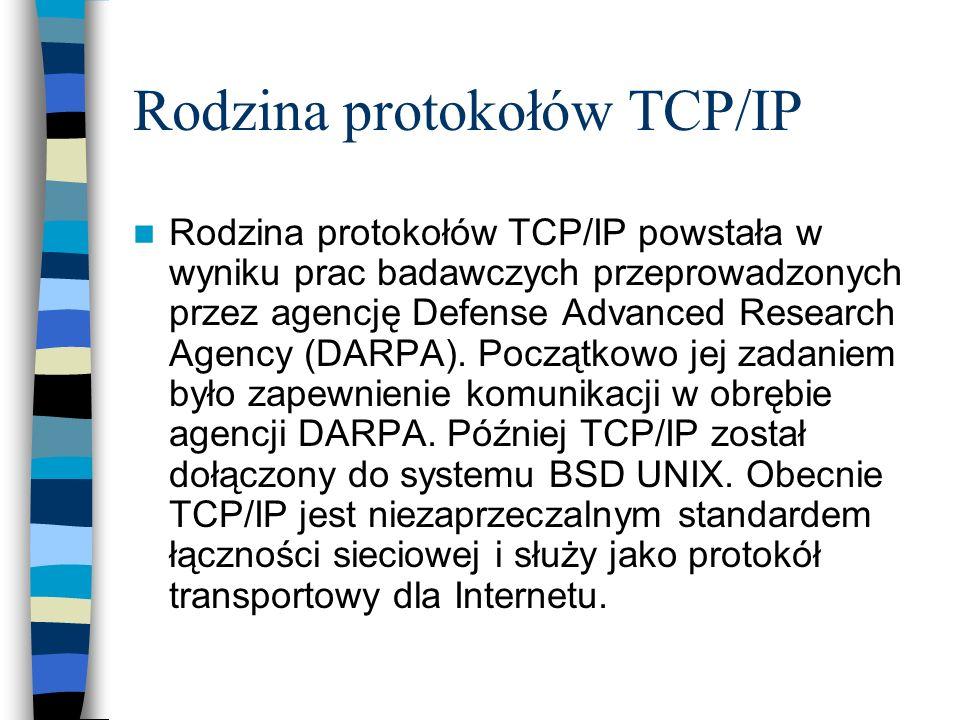 Rodzina protokołów TCP/IP Rodzina protokołów TCP/IP powstała w wyniku prac badawczych przeprowadzonych przez agencję Defense Advanced Research Agency