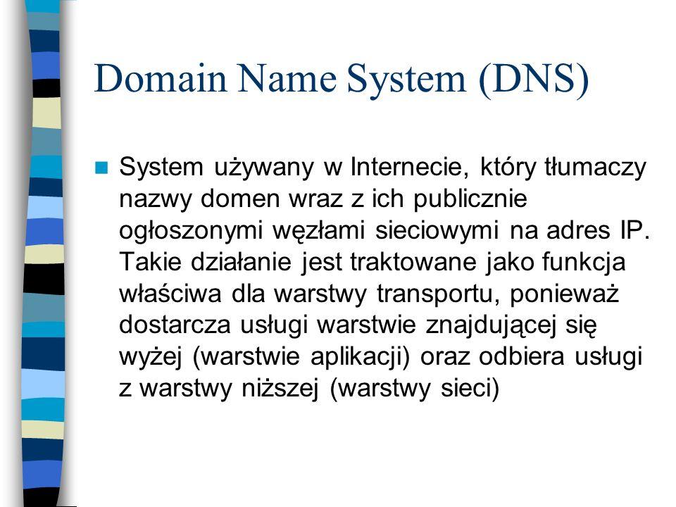 Domain Name System (DNS) System używany w Internecie, który tłumaczy nazwy domen wraz z ich publicznie ogłoszonymi węzłami sieciowymi na adres IP. Tak