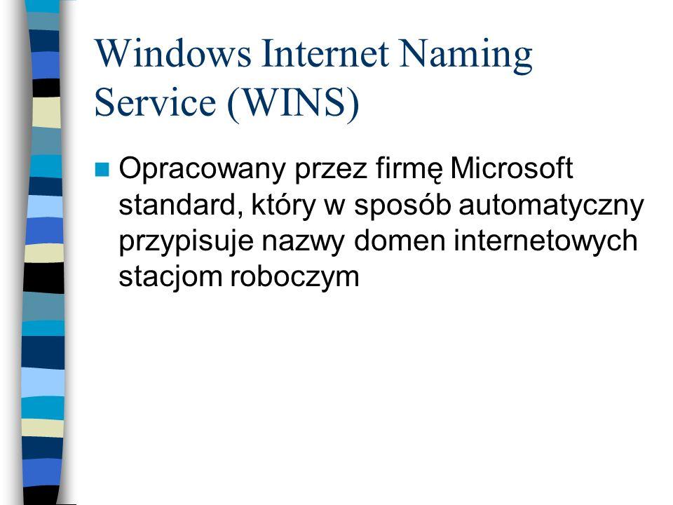 Windows Internet Naming Service (WINS) Opracowany przez firmę Microsoft standard, który w sposób automatyczny przypisuje nazwy domen internetowych sta