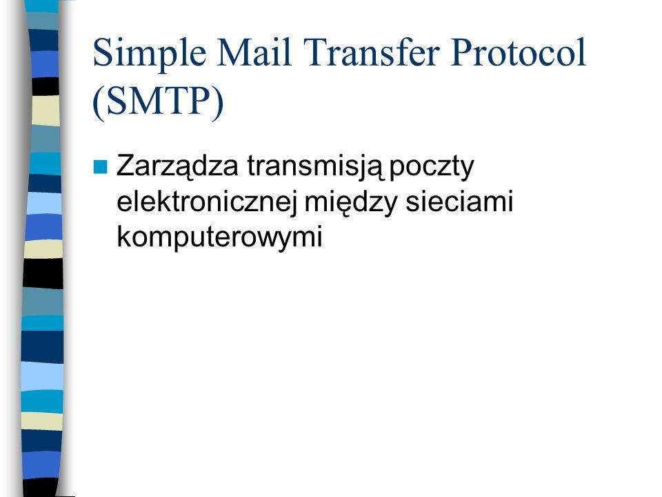 Simple Mail Transfer Protocol (SMTP) Zarządza transmisją poczty elektronicznej między sieciami komputerowymi