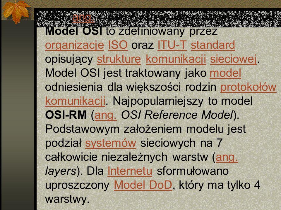 OSI (ang. Open System Interconnection) lub Model OSI to zdefiniowany przez organizacje ISO oraz ITU-T standard opisujący strukturę komunikacji sieciow