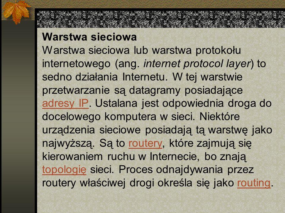 Warstwa sieciowa Warstwa sieciowa lub warstwa protokołu internetowego (ang. internet protocol layer) to sedno działania Internetu. W tej warstwie prze