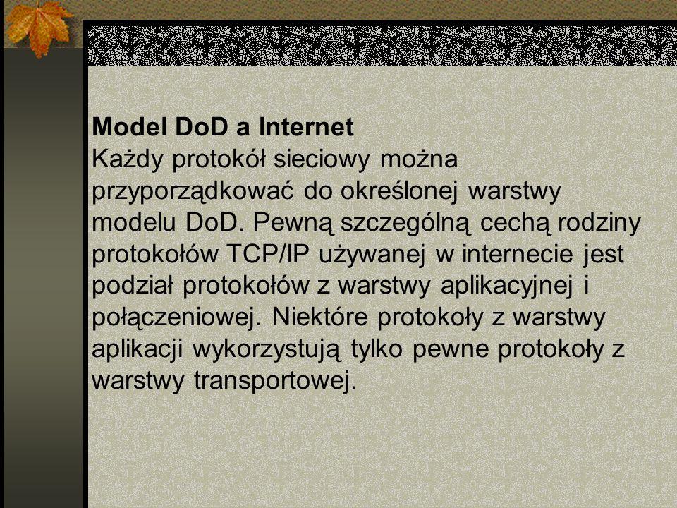 Model DoD a Internet Każdy protokół sieciowy można przyporządkować do określonej warstwy modelu DoD. Pewną szczególną cechą rodziny protokołów TCP/IP