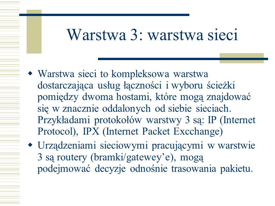 Warstwa 3: warstwa sieci Warstwa sieci to kompleksowa warstwa dostarczająca usług łączności i wyboru ścieżki pomiędzy dwoma hostami, które mogą znajdo