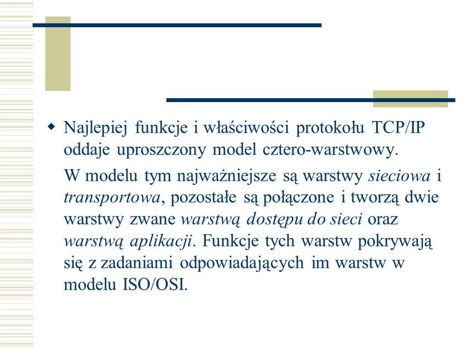 Najlepiej funkcje i właściwości protokołu TCP/IP oddaje uproszczony model cztero-warstwowy. W modelu tym najważniejsze są warstwy sieciowa i transport