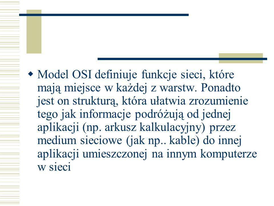 Model referencyjny OSI zawiera siedem ponumerowanych warstw, z których każda pełni określoną funkcję sieciową: Warstwa 7 – aplikacji Warstwa 6 – prezentacji Warstwa 5 – sesji Warstwa 4 – transportowa Warstwa 3 – sieci Warstwa 2 – łącza danych Warstwa 1 – fizyczna
