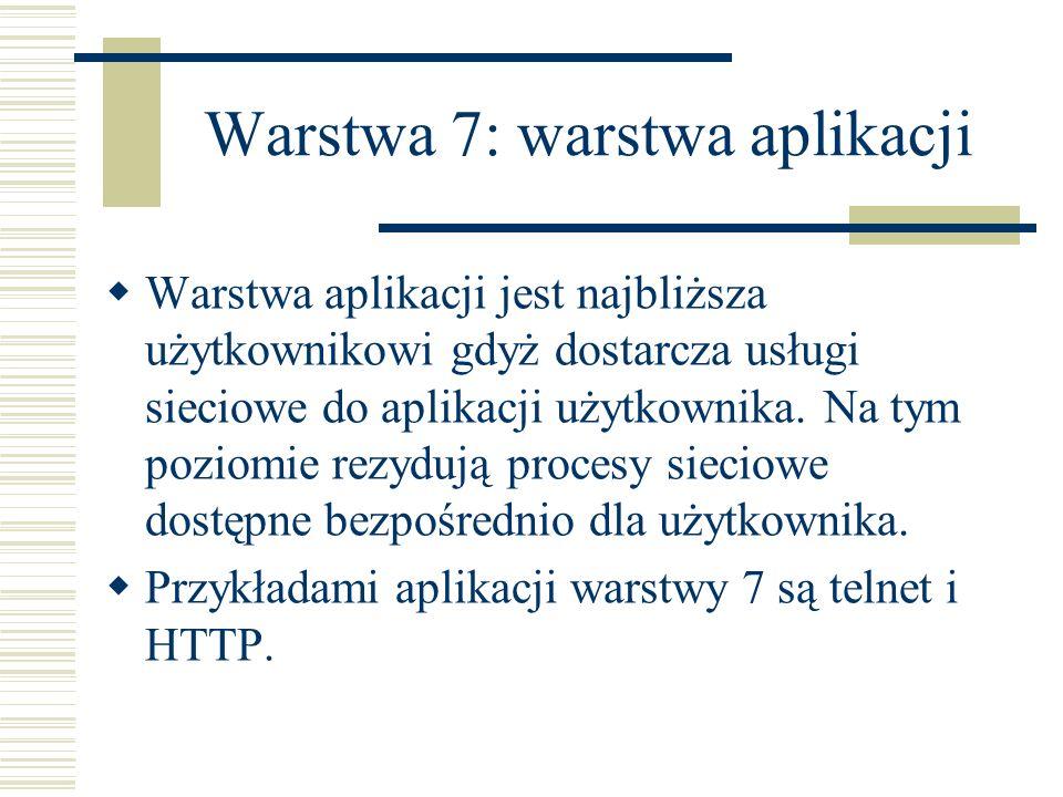 Warstwa 6: warstwa prezentacji Warstwa prezentacji pilnuje, aby informacje przesłane przez warstwę aplikacji w jednym systemie, były możliwe do odczytania przez warstwę aplikacji w na innym systemie.