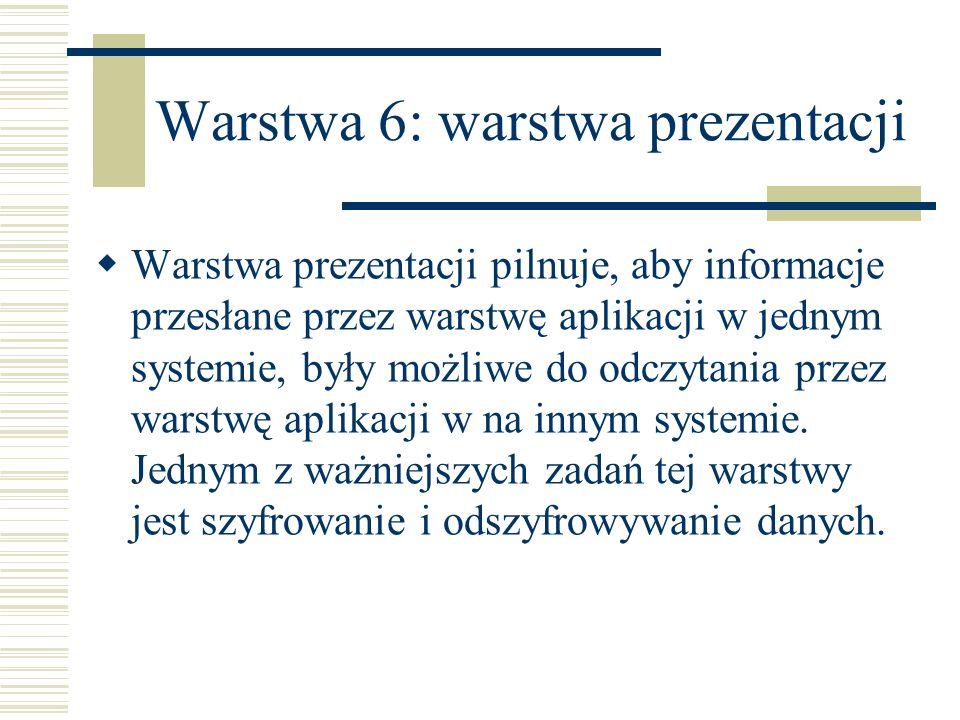 Warstwa 6: warstwa prezentacji Warstwa prezentacji pilnuje, aby informacje przesłane przez warstwę aplikacji w jednym systemie, były możliwe do odczyt