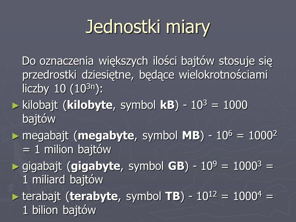 Jednostki miary Do oznaczenia większych ilości bajtów stosuje się przedrostki dziesiętne, będące wielokrotnościami liczby 10 (10 3n ): Do oznaczenia w