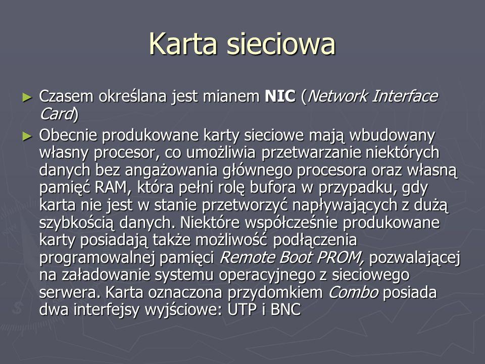 Karta sieciowa Czasem określana jest mianem NIC (Network Interface Card) Czasem określana jest mianem NIC (Network Interface Card) Obecnie produkowane