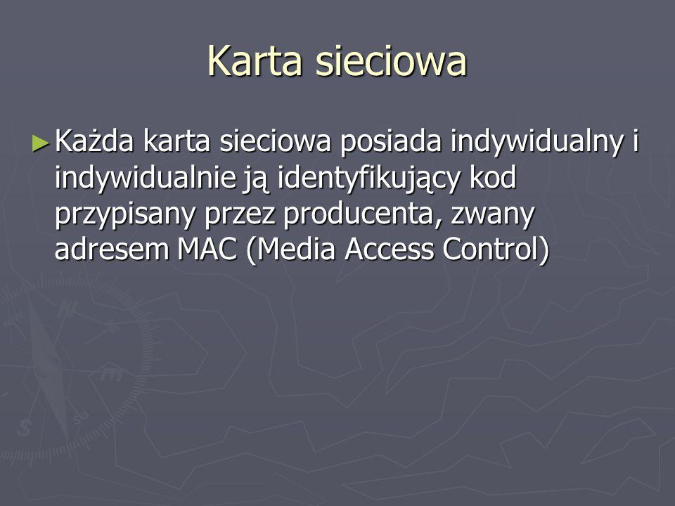 Karta sieciowa Każda karta sieciowa posiada indywidualny i indywidualnie ją identyfikujący kod przypisany przez producenta, zwany adresem MAC (Media A