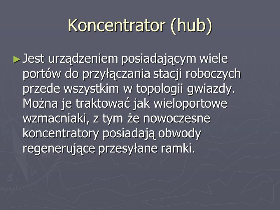 Koncentrator (hub) Jest urządzeniem posiadającym wiele portów do przyłączania stacji roboczych przede wszystkim w topologii gwiazdy. Można je traktowa