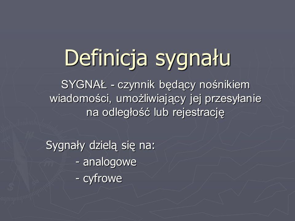 Definicja sygnału SYGNAŁ - czynnik będący nośnikiem wiadomości, umożliwiający jej przesyłanie na odległość lub rejestrację Sygnały dzielą się na: - an