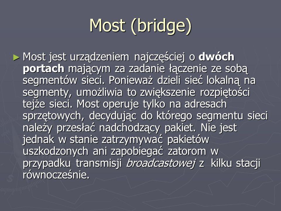Most (bridge) Most jest urządzeniem najczęściej o dwóch portach mającym za zadanie łączenie ze sobą segmentów sieci. Ponieważ dzieli sieć lokalną na s