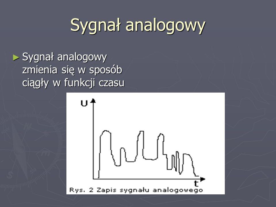 Sygnał analogowy Sygnał analogowy zmienia się w sposób ciągły w funkcji czasu Sygnał analogowy zmienia się w sposób ciągły w funkcji czasu