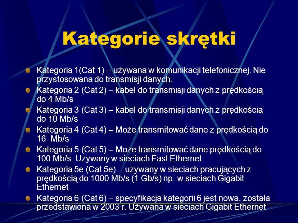 Kategorie skrętki Kategoria 1(Cat 1) – używana w komunikacji telefonicznej. Nie przystosowana do transmisji danych. Kategoria 2 (Cat 2) – kabel do tra