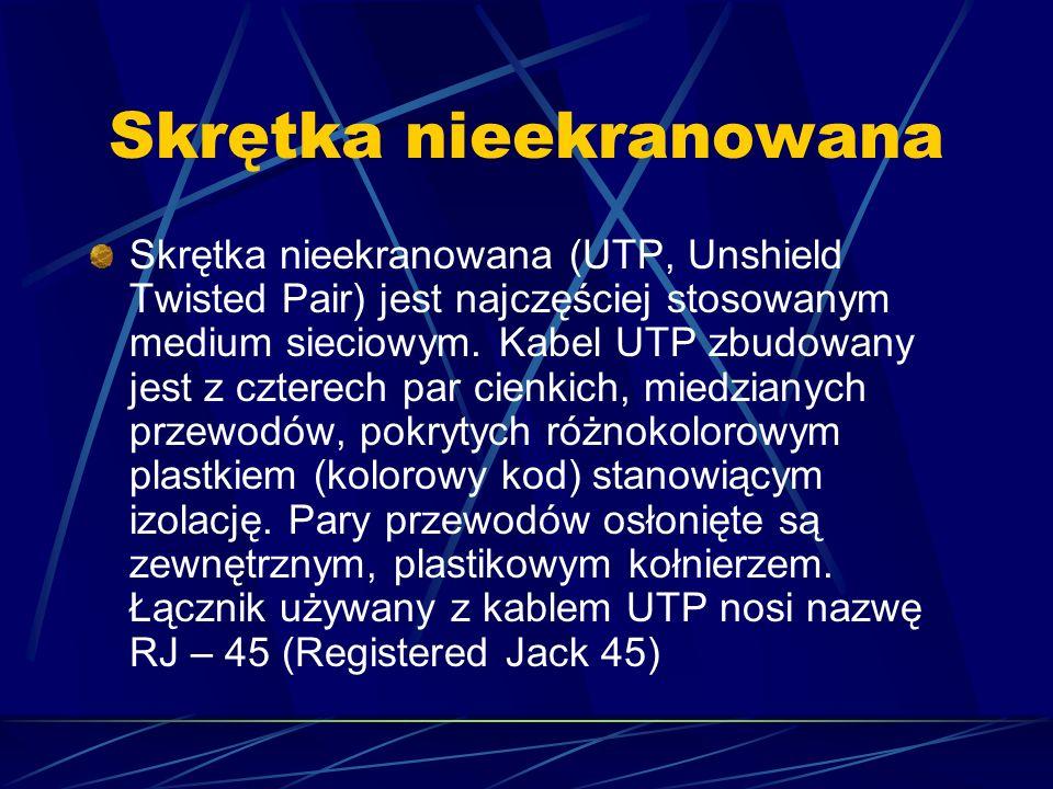 Skrętka nieekranowana Skrętka nieekranowana (UTP, Unshield Twisted Pair) jest najczęściej stosowanym medium sieciowym. Kabel UTP zbudowany jest z czte