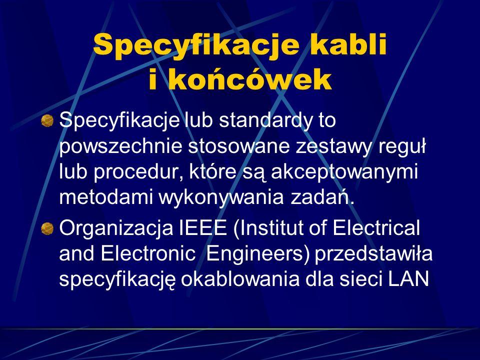 Specyfikacje kabli i końcówek Specyfikacje lub standardy to powszechnie stosowane zestawy reguł lub procedur, które są akceptowanymi metodami wykonywa