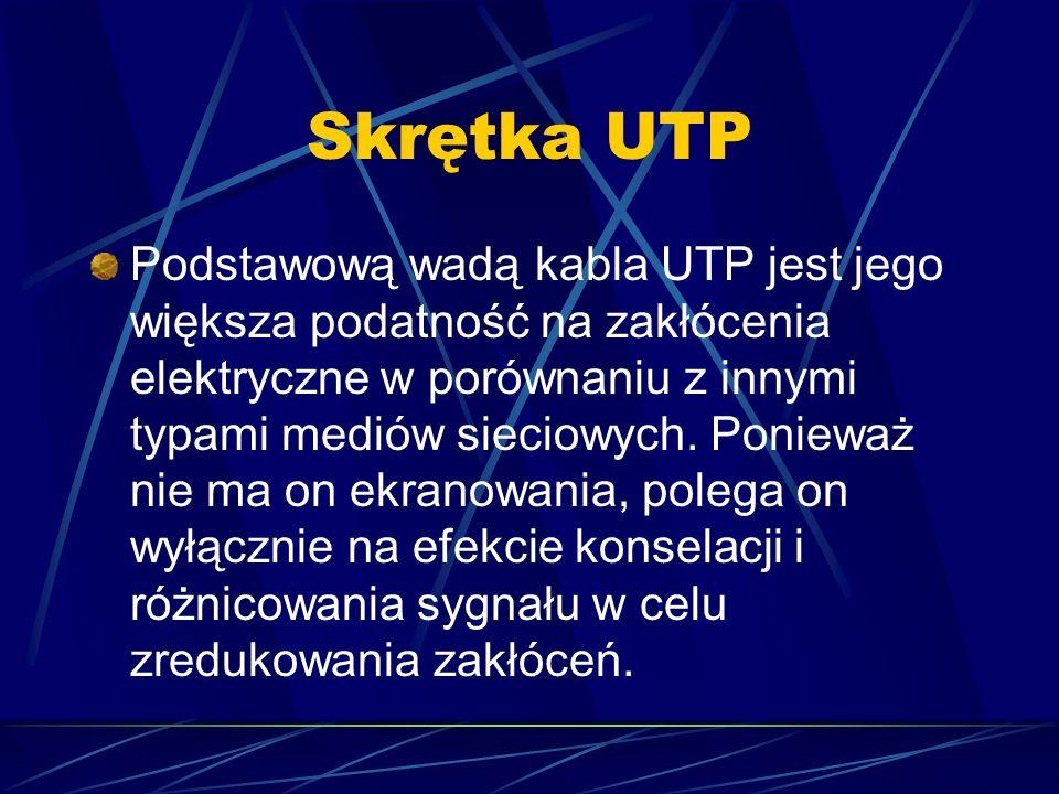 Skrętka UTP Podstawową wadą kabla UTP jest jego większa podatność na zakłócenia elektryczne w porównaniu z innymi typami mediów sieciowych. Ponieważ n