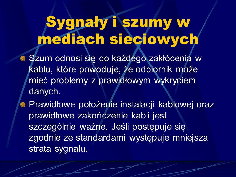 Sygnały i szumy w mediach sieciowych Szum odnosi się do każdego zakłócenia w kablu, które powoduje, że odbiornik może mieć problemy z prawidłowym wykr