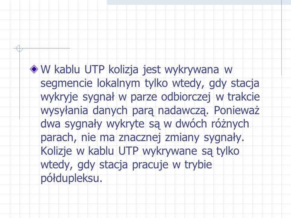 W kablu UTP kolizja jest wykrywana w segmencie lokalnym tylko wtedy, gdy stacja wykryje sygnał w parze odbiorczej w trakcie wysyłania danych parą nada