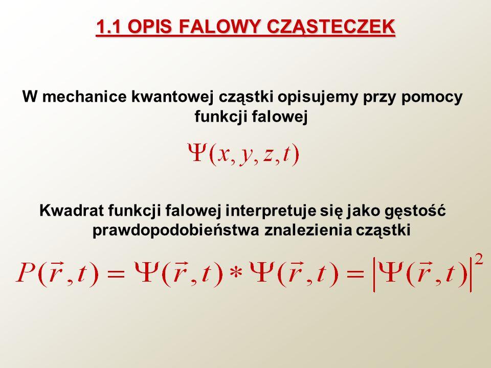 1.1 OPIS FALOWY CZĄSTECZEK W mechanice kwantowej cząstki opisujemy przy pomocy funkcji falowej Kwadrat funkcji falowej interpretuje się jako gęstość p