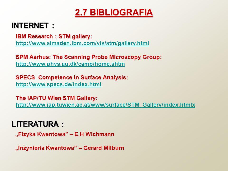 2.7 BIBLIOGRAFIA IBM Research : STM gallery: http://www.almaden.ibm.com/vis/stm/gallery.html SPM Aarhus: The Scanning Probe Microscopy Group: http://w