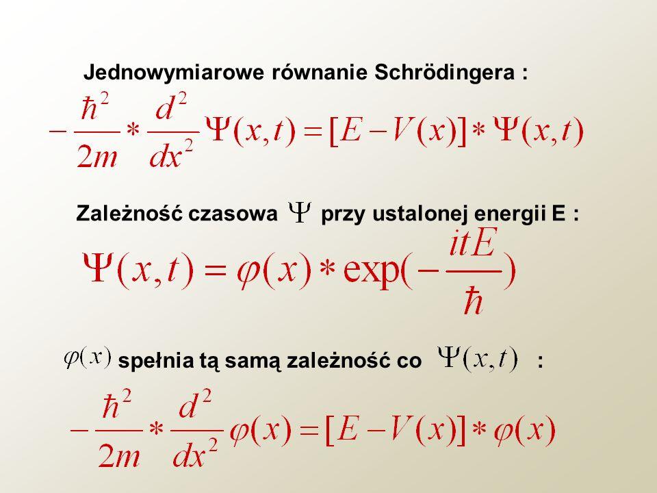 Jednowymiarowe równanie Schrödingera : Zależność czasowa przy ustalonej energii E : spełnia tą samą zależność co :