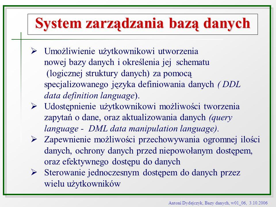 Antoni Dydejczyk, Bazy danych, w01_06, 3.10.2006 System zarządzania bazą danych Umożliwienie użytkownikowi utworzenia nowej bazy danych i określenia j