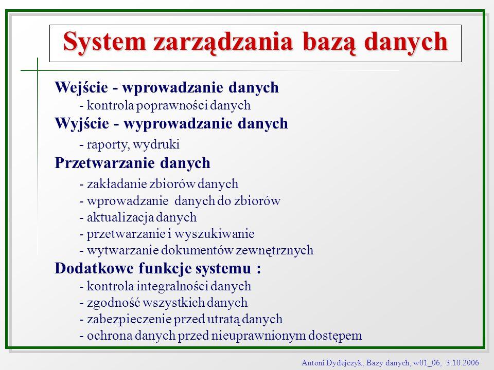 Antoni Dydejczyk, Bazy danych, w01_06, 3.10.2006 System zarządzania bazą danych Wejście - wprowadzanie danych - kontrola poprawności danych Wyjście -