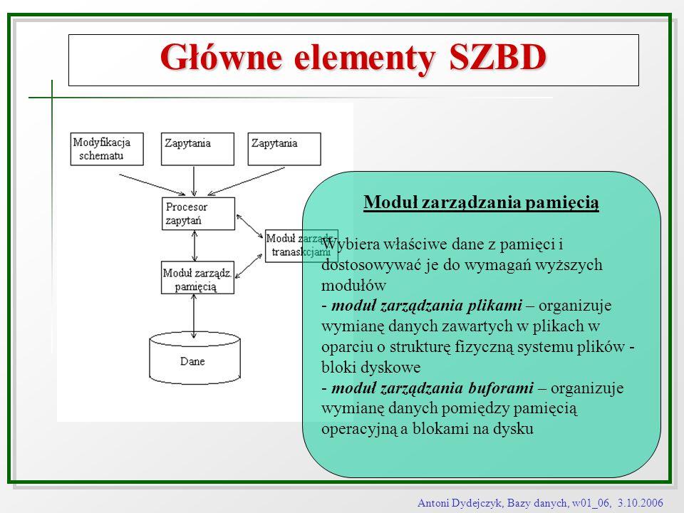 Antoni Dydejczyk, Bazy danych, w01_06, 3.10.2006 Główne elementy SZBD Moduł zarządzania pamięcią Wybiera właściwe dane z pamięci i dostosowywać je do