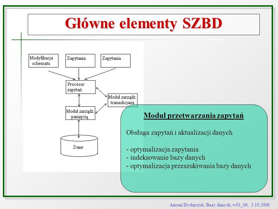 Antoni Dydejczyk, Bazy danych, w01_06, 3.10.2006 Główne elementy SZBD Moduł przetwarzania zapytań Obsługa zapytań i aktualizacji danych - optymalizacj