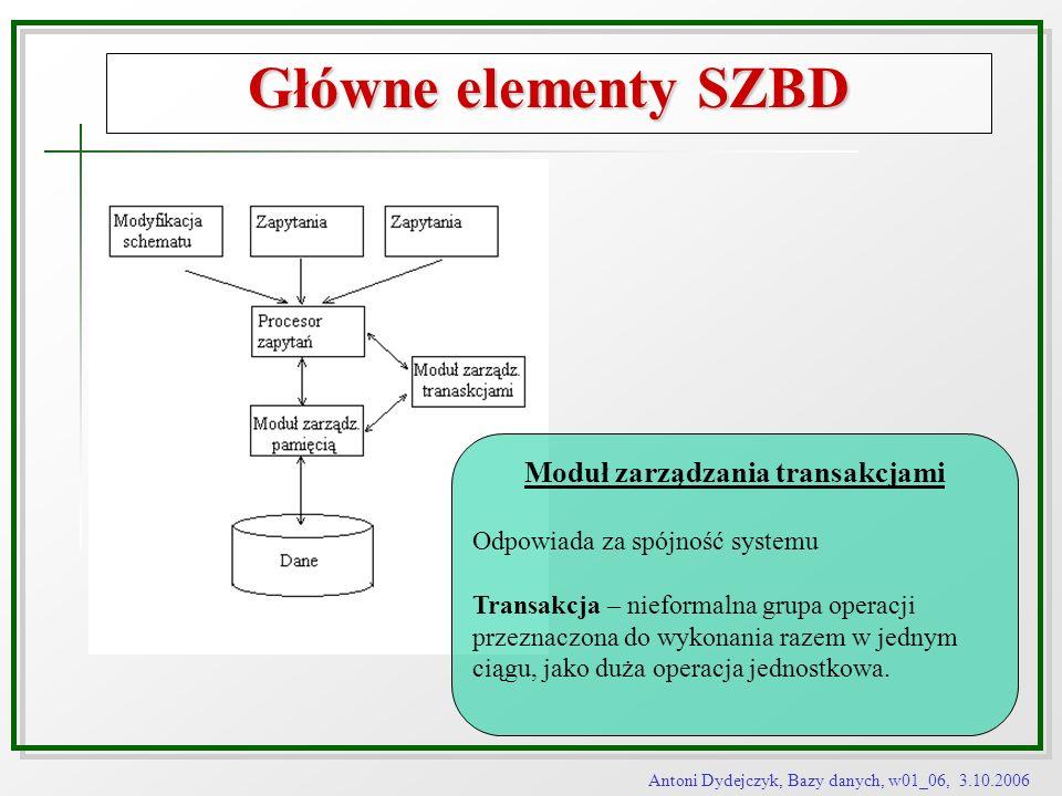 Antoni Dydejczyk, Bazy danych, w01_06, 3.10.2006 Główne elementy SZBD Moduł zarządzania transakcjami Odpowiada za spójność systemu Transakcja – niefor