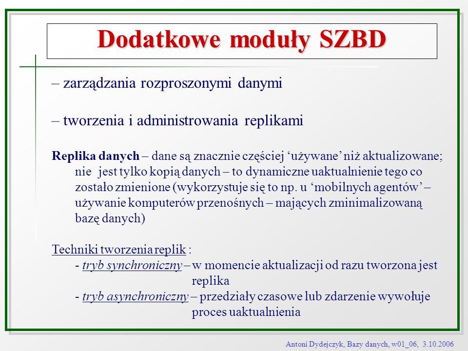 Antoni Dydejczyk, Bazy danych, w01_06, 3.10.2006 Dodatkowe moduły SZBD – zarządzania rozproszonymi danymi – tworzenia i administrowania replikami Repl