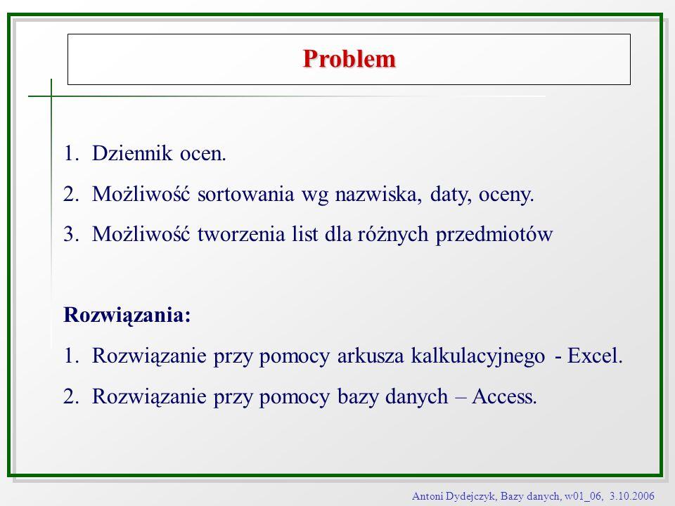 Antoni Dydejczyk, Bazy danych, w01_06, 3.10.2006 Problem 1.Dziennik ocen. 2.Możliwość sortowania wg nazwiska, daty, oceny. 3.Możliwość tworzenia list