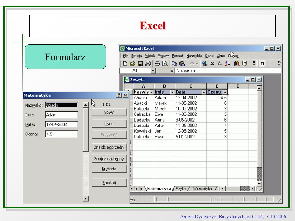 Antoni Dydejczyk, Bazy danych, w01_06, 3.10.2006 Excel Formularz