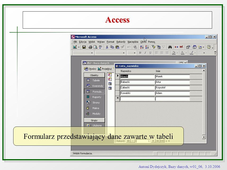 Antoni Dydejczyk, Bazy danych, w01_06, 3.10.2006 Access Formularz przedstawiający dane zawarte w tabeli