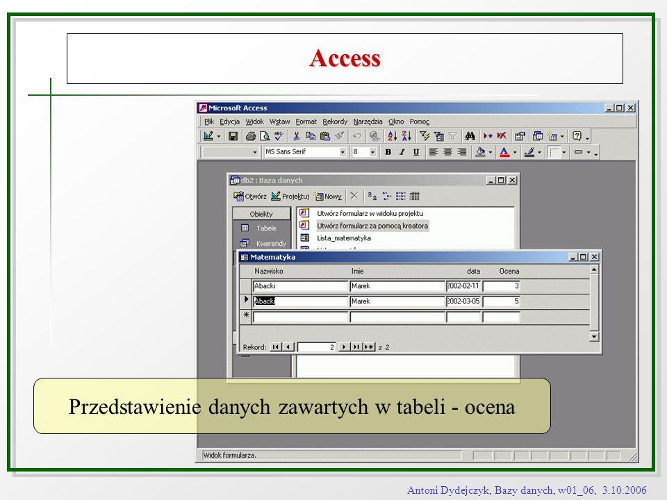 Antoni Dydejczyk, Bazy danych, w01_06, 3.10.2006 Access Przedstawienie danych zawartych w tabeli - ocena