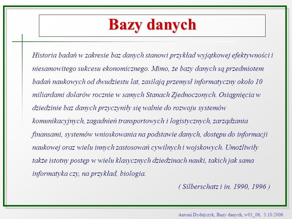 Antoni Dydejczyk, Bazy danych, w01_06, 3.10.2006 Architektura baz danych Poziomy abstrakcji Model zewnętrzny Model pojęciowy Model wewnętrzny Schemat zewnętrzny Schemat pojęciowy Schemat wewnętrzny Definicja danych Administracja danych Manipulacja danymi Języki