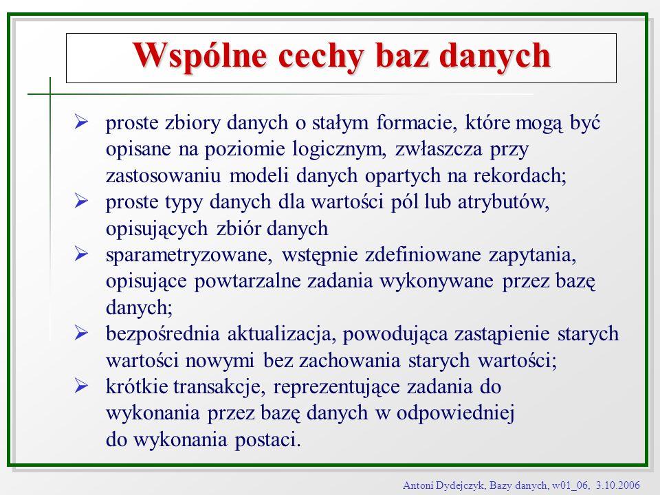 Antoni Dydejczyk, Bazy danych, w01_06, 3.10.2006 Wspólne cechy baz danych proste zbiory danych o stałym formacie, które mogą być opisane na poziomie l