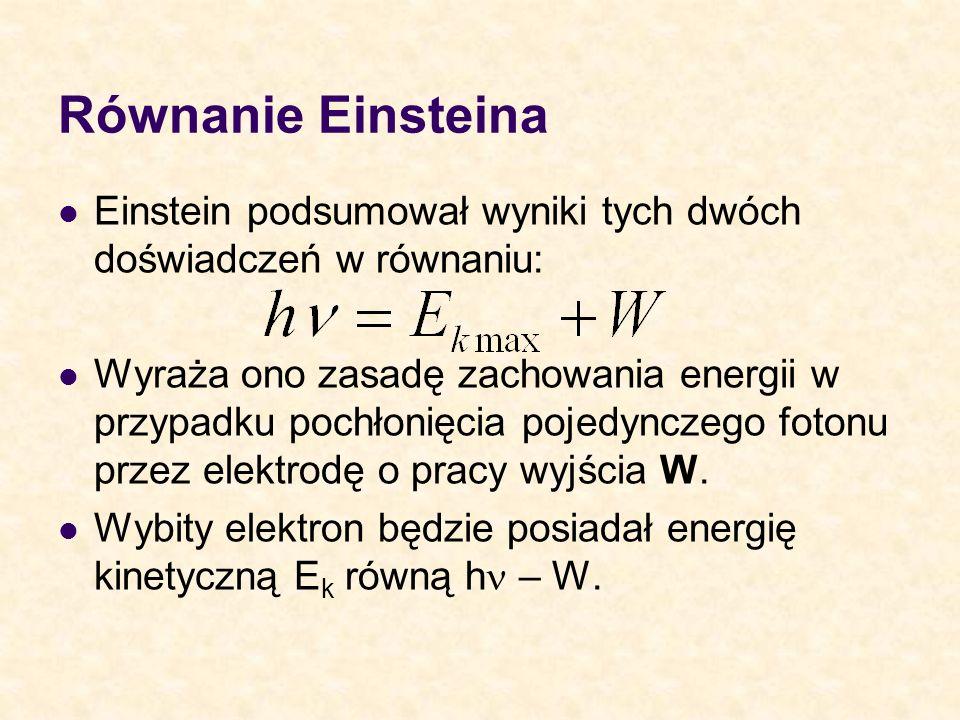 Równanie Einsteina Einstein podsumował wyniki tych dwóch doświadczeń w równaniu: Wyraża ono zasadę zachowania energii w przypadku pochłonięcia pojedyn