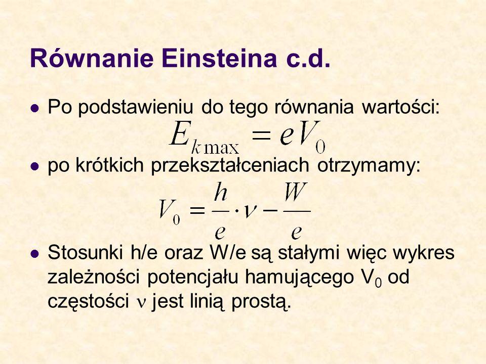 Równanie Einsteina c.d. Po podstawieniu do tego równania wartości: po krótkich przekształceniach otrzymamy: Stosunki h/e oraz W/e są stałymi więc wykr