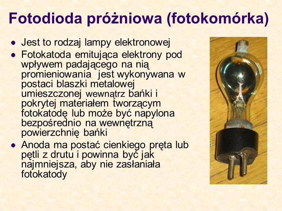 Fotodioda próżniowa (fotokomórka) Jest to rodzaj lampy elektronowej Fotokatoda emitująca elektrony pod wpływem padającego na nią promieniowania jest w