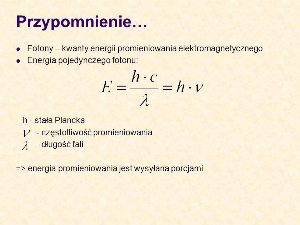 Przypomnienie… Fotony – kwanty energii promieniowania elektromagnetycznego Energia pojedynczego fotonu: h - stała Plancka - częstotliwość promieniowan
