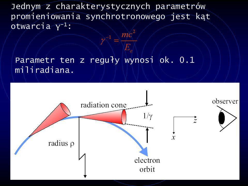 Jednym z charakterystycznych parametrów promieniowania synchrotronowego jest kąt otwarcia γ -1 : Parametr ten z reguły wynosi ok. 0.1 miliradiana.