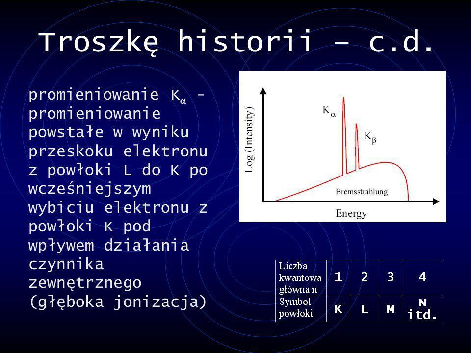 Troszkę historii – c.d. promieniowanie K - promieniowanie powstałe w wyniku przeskoku elektronu z powłoki L do K po wcześniejszym wybiciu elektronu z