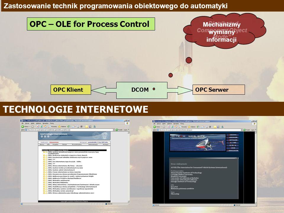 Zastosowanie technik programowania obiektowego do automatyki OPC – OLE for Process Control OPC KlientOPC Serwer DCOM Distributed Component Object Mode