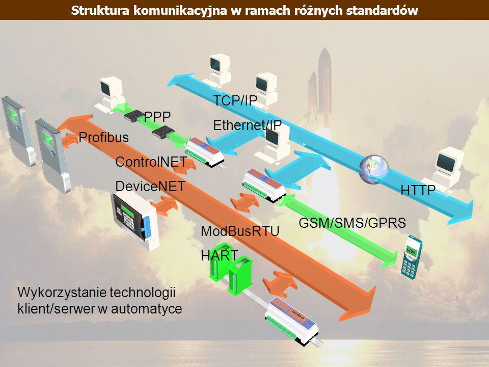 ModBusRTU HART ControlNET DeviceNET Profibus GSM/SMS/GPRS PPP HTTP TCP/IP Ethernet/IP Struktura komunikacyjna w ramach różnych standardów Wykorzystani