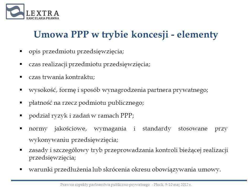Umowa PPP w trybie koncesji - elementy opis przedmiotu przedsięwzięcia; czas realizacji przedmiotu przedsięwzięcia; czas trwania kontraktu; wysokość,