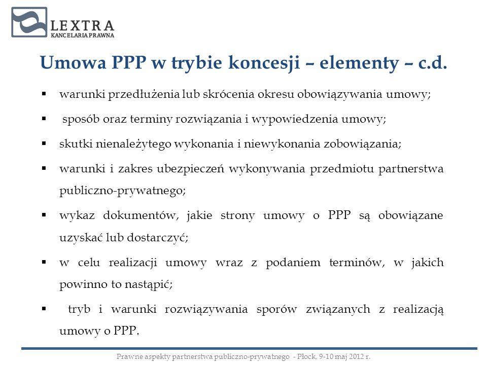 Umowa PPP w trybie koncesji – elementy – c.d. warunki przedłużenia lub skrócenia okresu obowiązywania umowy; sposób oraz terminy rozwiązania i wypowie